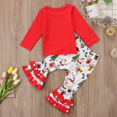 Girl Christmas Outfits With Leggings - 2 Pcs Long Sleeves Tops Toddler Ruffle Pants Set Clothing Sets Kids Now Apparel