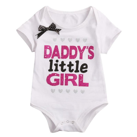 Glitter Print Bowknot Cotton Infant Rompers Kids Now Apparel