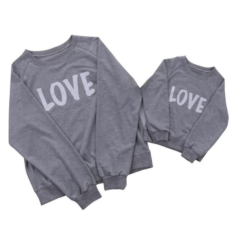 Gray Love Print Mother and Toddler Matching Pullover Kids Now Apparel