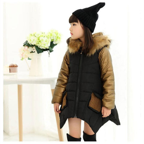 Hooded Fur Girl Jacket Jackets & Coats Kids Now Apparel