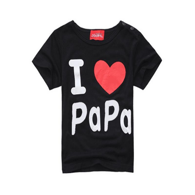 I Love Papa and Mama Print Thin Matching Shirts Kids Now Apparel