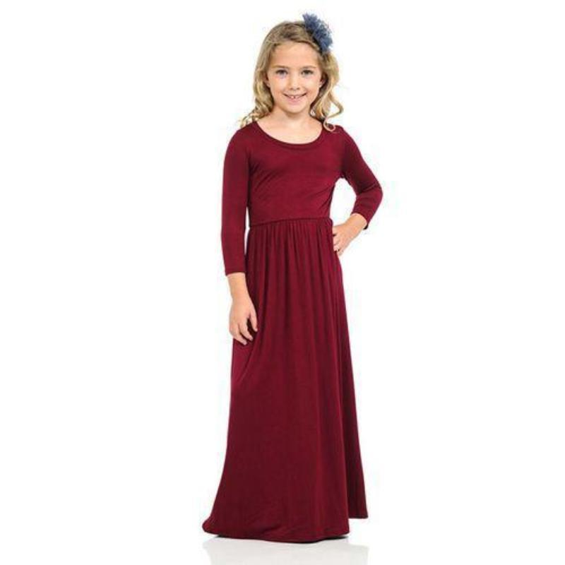 Kids Long Sleeve Maxi Dress Dresses Kids Now Apparel