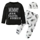 Letter Print Tops+Pants+Hat Toddler Autumn Outfits Kids Now Apparel