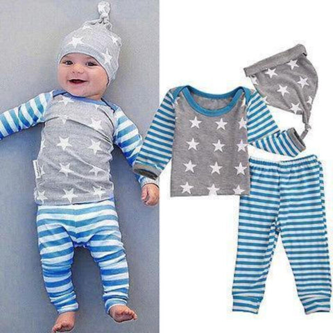 Long Sleeve Tops+Pants+Hat 3pcs Outfit Clothing Sets Kids Now Apparel