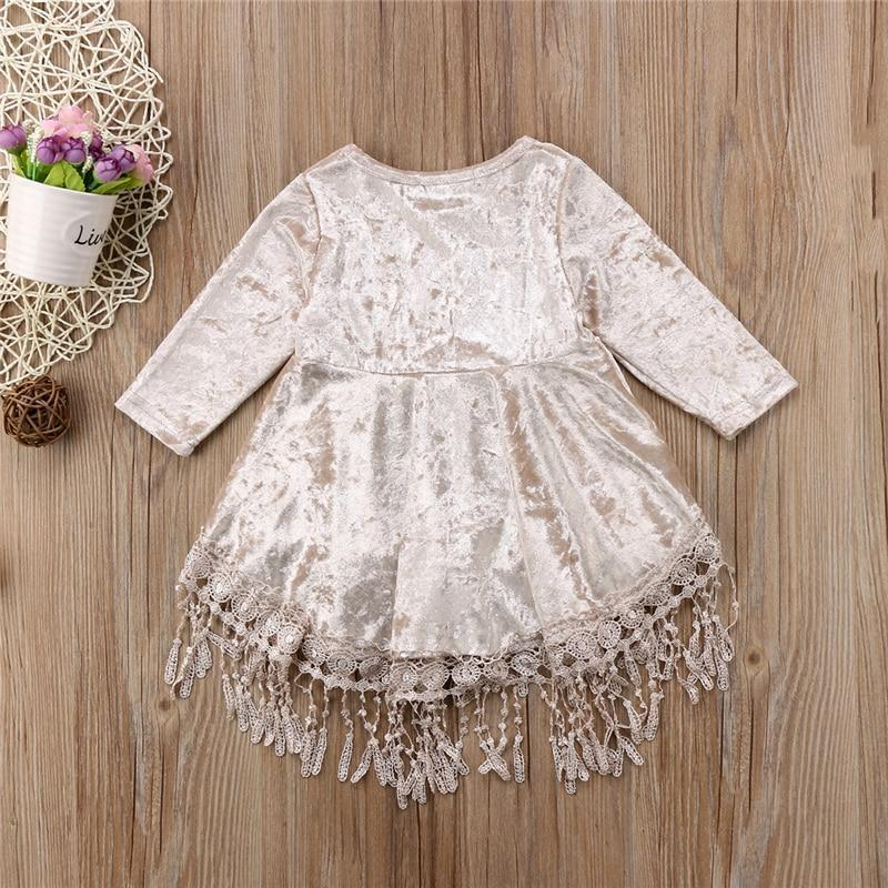 Long Sleeve Velvet Girls Dress Dresses Kids Now Apparel