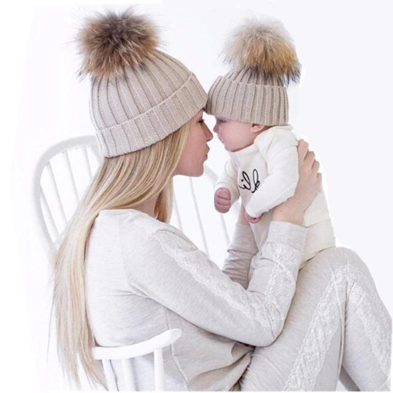 Mom And Baby Matching Hats With PomPom Kids Now Apparel