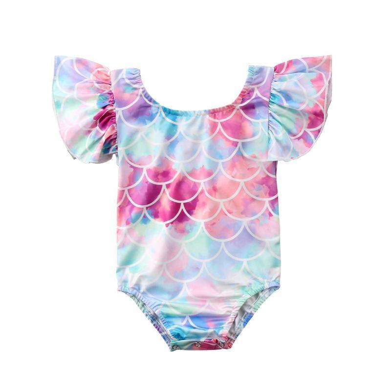 Multi-color Mermaid Print One Piece Swimsuit For Kids Kids Now Apparel