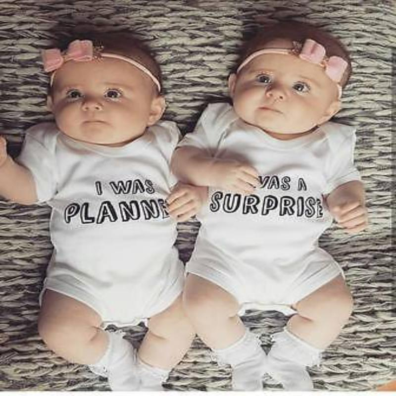 Newborn Letter Printing Lap Shoulder Twin Baby Clothes Kids Now Apparel
