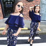 Off Shoulder Frill Top + Floral Pants Cute Outfits For Girls Kids Now Apparel
