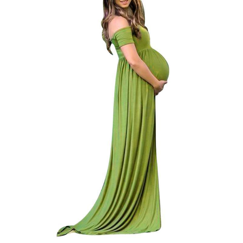 Off Shoulder High Slit Photo Shoot Maternity Dresses Kids Now Apparel