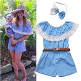 Off Shoulder Lace Romper Mommy And Daughter Outfits Kids Now Apparel