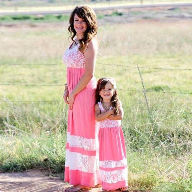 Patchwork Lace Boho Maxi Mommy And Me Outfits Kids Now Apparel