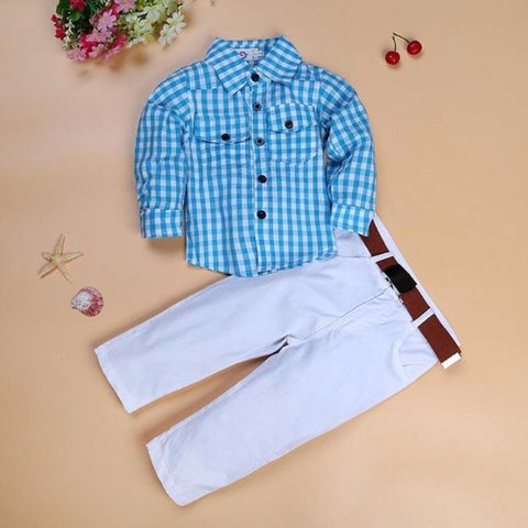 Plaid Shirt + Pants + Belt Kids Clothing Set Kids Now Apparel
