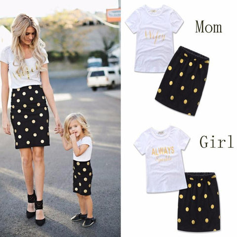 Polka Dot Letter Print Mother And Daughter Outfits Kids Now Apparel