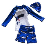 Printed Baby Boy Sporty Two Piece Swimsuits With Swim Cap Kids Now Apparel