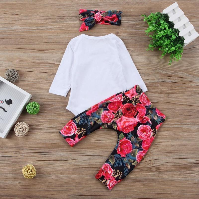 Printed Romper +Flower Pants +Bow Headband Outfits For Girls Kids Now Apparel