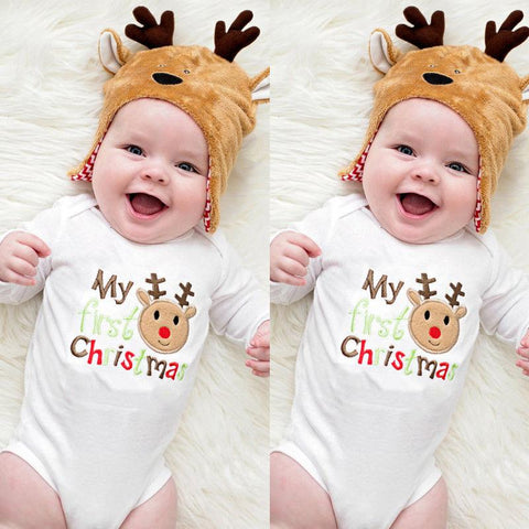 Romper Bodysuit Deer Christmas Newborn Baby Boy Girls