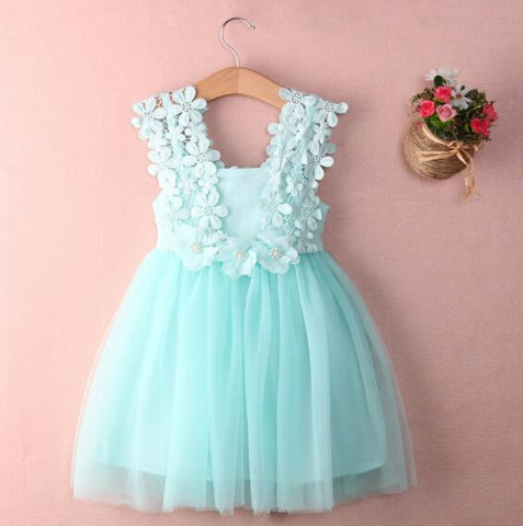 Baby Girls Party Lace Tulle Flower Gown Fancy Dridesmaid Dress Sundress Girls Dress