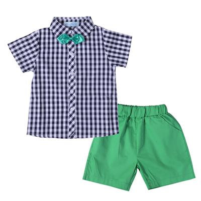 Plaid Shirt Top With Green Short Pants For Boys