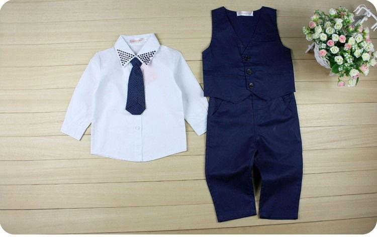 3pcs set autumn children's leisure clothing sets baby boy suit vest gentleman clothes for weddings formal clothing Suit