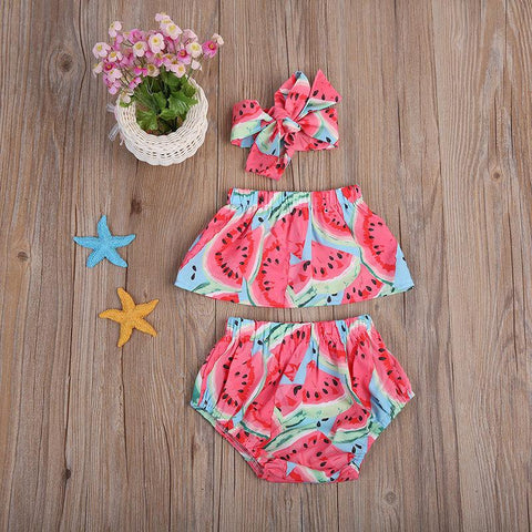 Sweet Baby Girls Watermelon Off Shoulder Tops+Triangle shorts +Headband Watermelon Outfits Clothes
