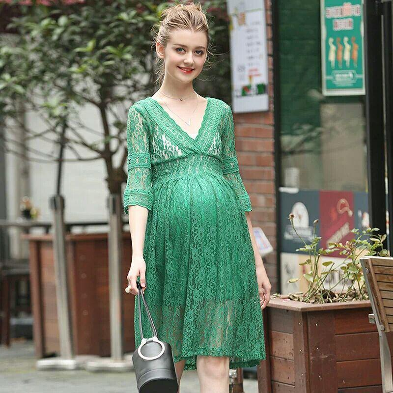 Maternity clothes summer maternity clothes half lace hollow green dress for photography maternity dresses