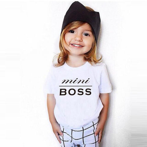 Kids T-Shirts MINI BOSS Short Sleeve Letter Print T shirt Tops Outfits Top For Kids Summer Cotton Blusa Menina