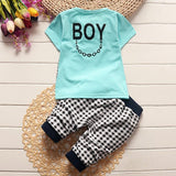 Baby boys clothing set toddler children sport suit set lattice gentleman tracksuit kids boys