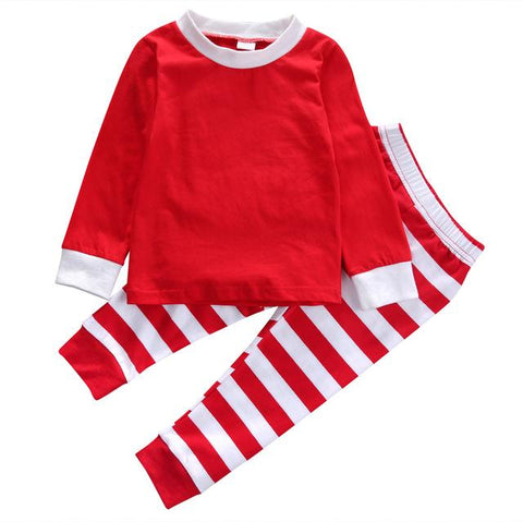 2pcs Toddler Kids Baby Boy Girls Striped Outfits Christmas Pajamas Sleepwear Set