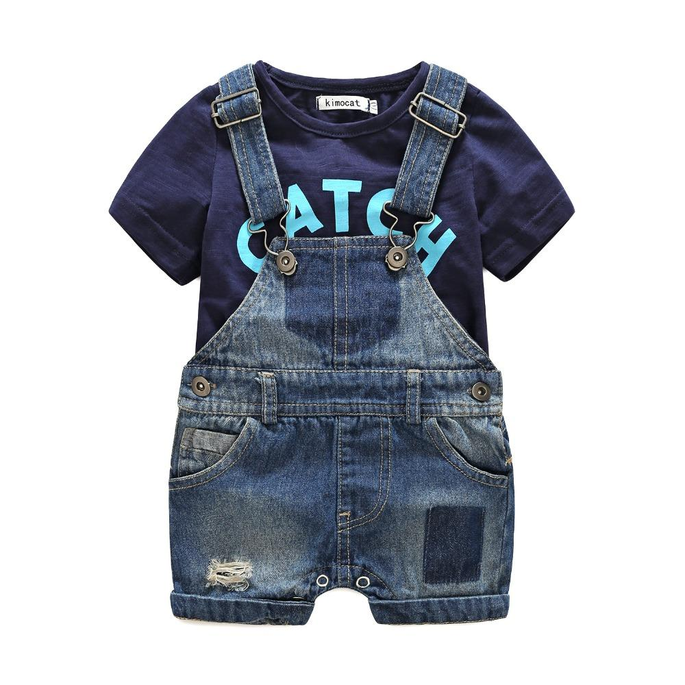 Summer 2pcs Short Sleeve Baby Boy's Infant Jumpsuit  T-Dhirts+Denim Dhorts Denim Overall Clothing Sets