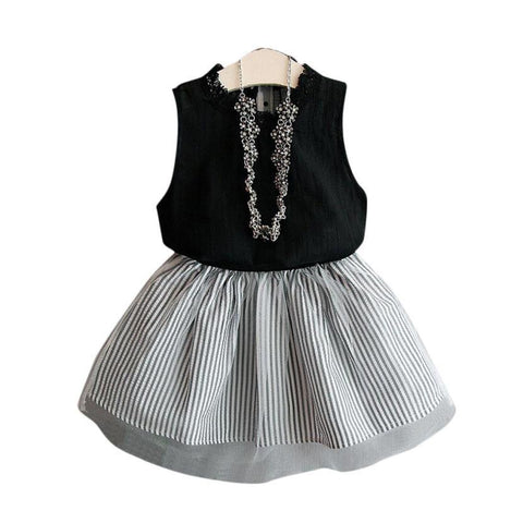 Girls Sweet Sleeveless T-shirt+Stripe Short Skirt Set
