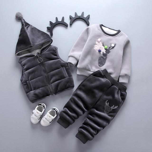 Baby Girl Boy Clothing Sets Cartoon Pattern Autumn Winter Warm Toddler Vest + Shirt + Pants 1 2 3 4 Years Kid Clothing Suit