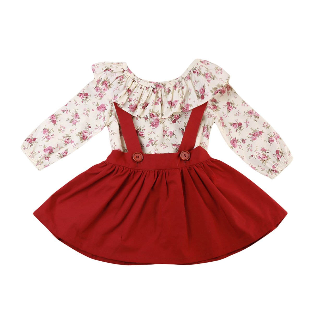2 Pcs Elsie Suspender Dress With Floral Top 12M-5