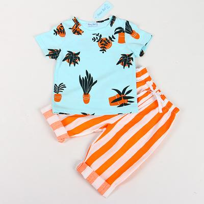 Summer Fashion Style T-Shirts With Stripe Pants Set For Boys