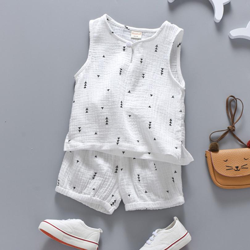Cotton Linen Boys Girls Suit Summer Sleeveless Vest Shorts 2pcs Suit Children Set 2018 Clothing Kids Bobo Bebe Toddler 0-5T