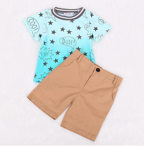 Toddlers Printed T-shirt With Shorts Suits