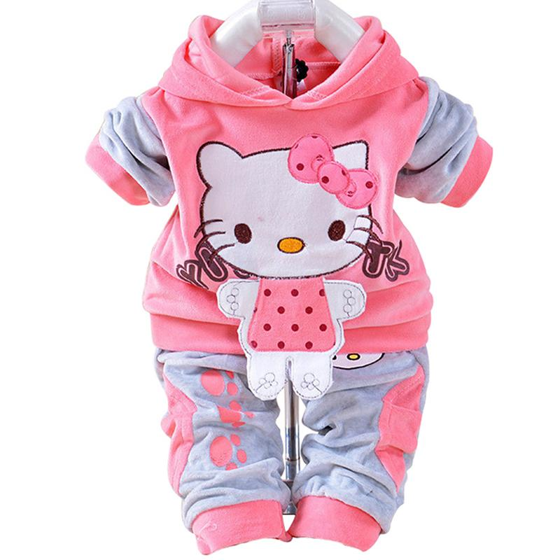 Newbabychic Baby Boys Girls Hello Kitty Clothing Sets Kids Velvet Suits Infant Tracksuits Sports Outerwear Cartoon Hoodies Pants 2pcs Sets