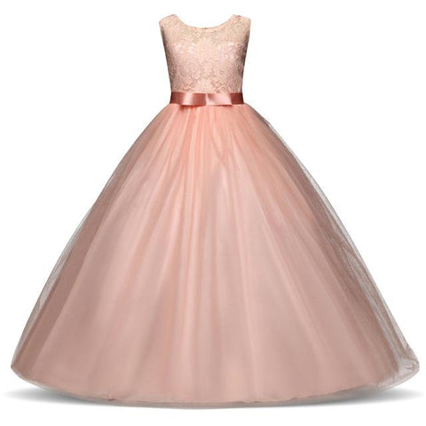 Flower Girls Elegant Wedding Princess Dresses For Teenager Girl Clothes Junior Children's Costume Kids A-Line Long Ball Gown