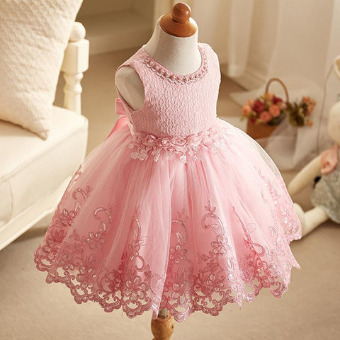 Girl Cute Dresses New Children Clothing White Color Beaded Lace Princess Girls Summer vest Dress