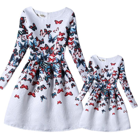 Mother Daughter Dress New Casual Butterfly Print White Party Dresses Long Sleeve Matching Family Clothes 6-8T S-XL GD55