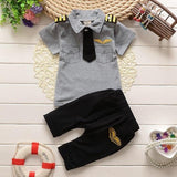 Summer Children Boys Clothing Set Kids Boys Pilot Clothes Baby Boys Tops T-shirt Shorts Sport Suit Summer Boys Clothes