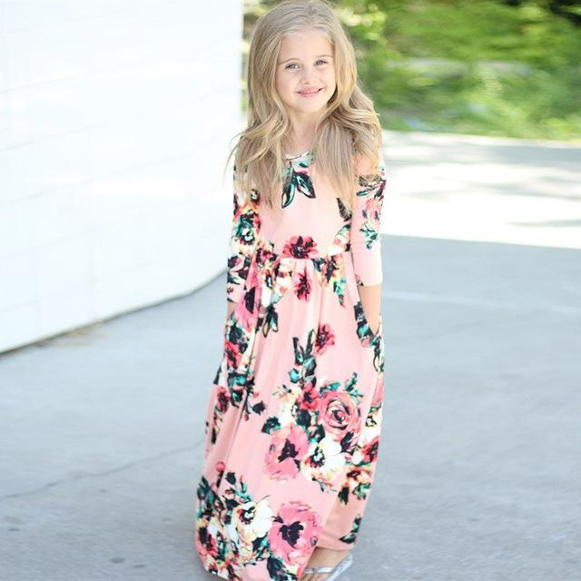 Girls Dresses Autumn Cute Baby Girls Hit Color Long Dress Children clothes Casual Cotton Beachwear Maxi Dress