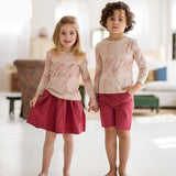 Enjoy Family Clothing Sister And Brother Long Sleeve Print Graffiti T-shirt+Red Skirt&Shorts Family Matching Clothes