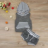 2018 Babies kids Striped Casual Hooded Clothing Set Summer Infant Baby Boy Kid Outfits Clothes Hoodie Vest Tops+Pants 2pcs Set
