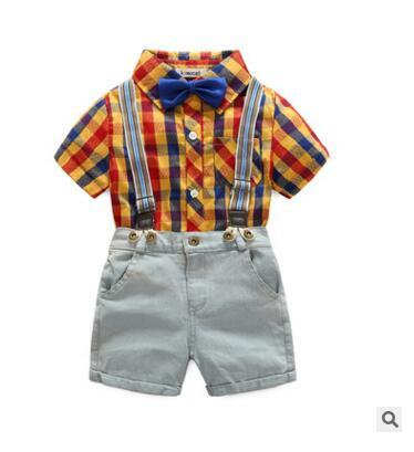 Summer dress the new gentleman boy's short - sleeve checked shirt denim trousers with a cotton suit