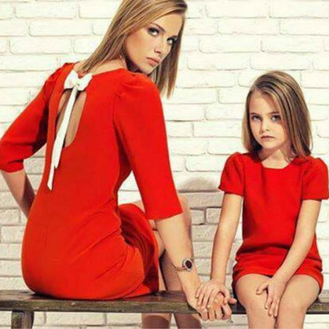Mother Daughter Dresses Family Matching Outfits Bowknot Family Look Matching Clothes Mom And Daughter Dress Drop Shipping