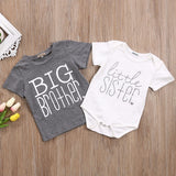 Emmababy Borther And Sister Matching Clthoes Fynny Big Brother T-shirt Little Sister Cotton Bodysuit Short Sleeve Letter Tops