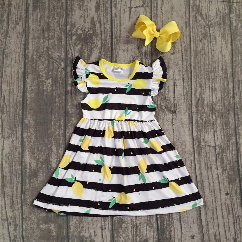 Summer dress baby kids wear girls clothing black stripes lemon dress sleeves boutique dress with matching bow