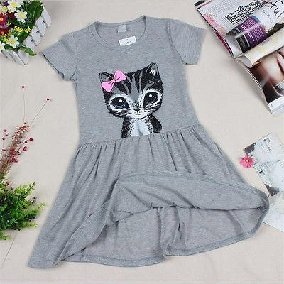 Summer girl dress cat print grey baby girl dress children clothing children dress 0-8 years