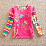 Girl clothes neat Nova o-neck cotton child clothes fashion dot print embroidery cartoon pattern girl long sleeve T-shirt